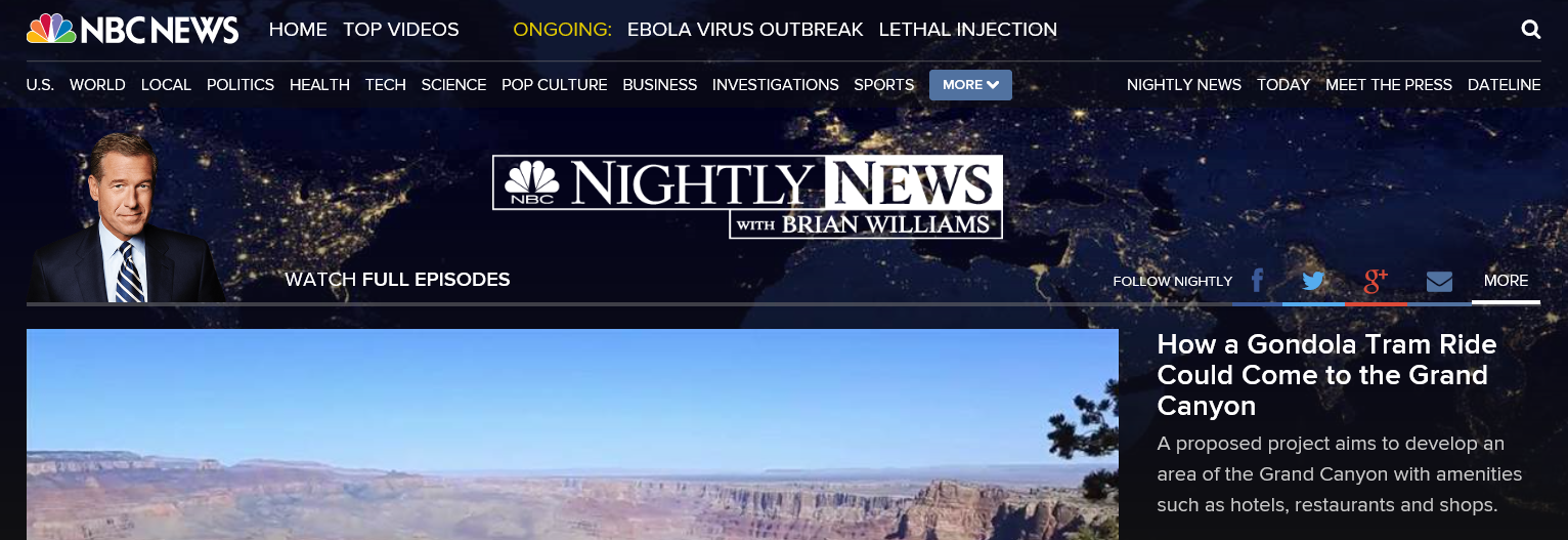 NBC Nightly News Video on Grand Canyon Escalade